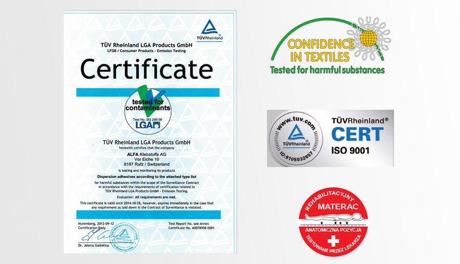 certyfikaty materacy