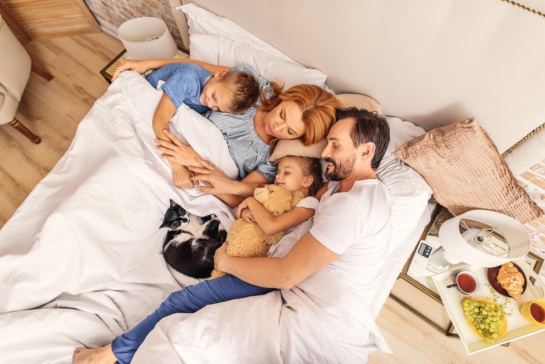 ciekawostki o śnie, śpiąca rodzina